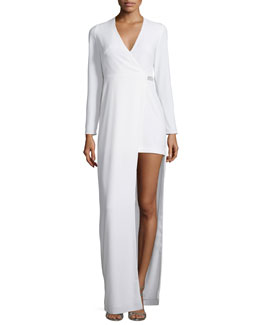 Long-Sleeve Asymmetric Jersey Gown, Chalk