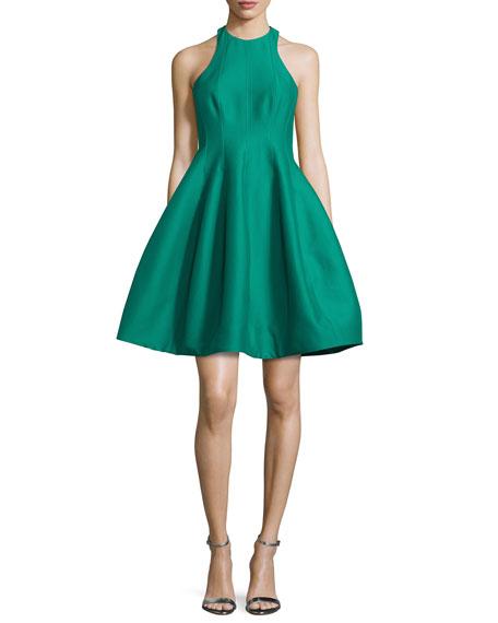 Halston Heritage Sleeveless Structured Faille Tulip Dress,