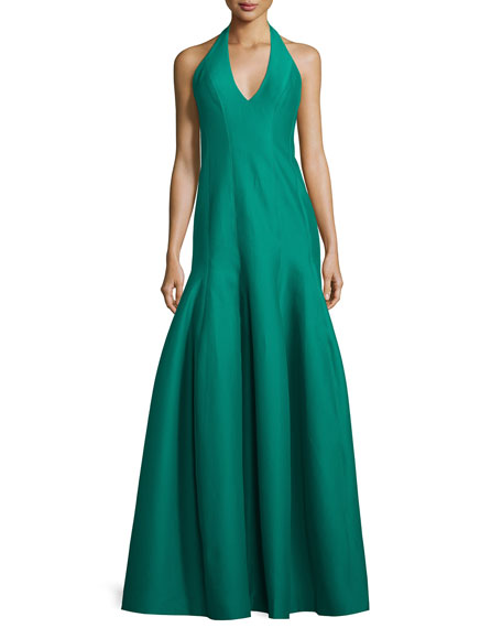Halston Heritage Faille Halter Tulip Gown, Emerald