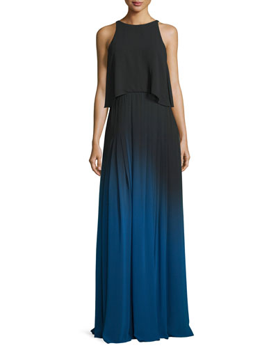 Sleeveless Cutout Ombre Popover Gown, Black/Ultramarine