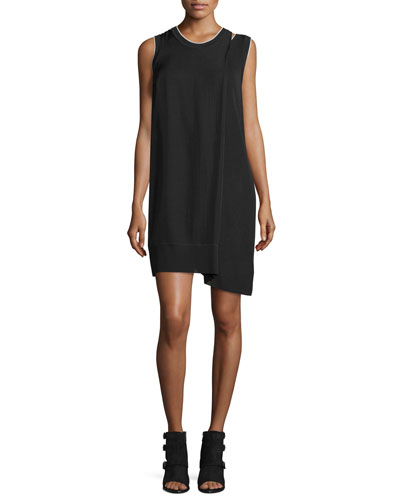 Abby Sleeveless Crepe Mini Dress, Black