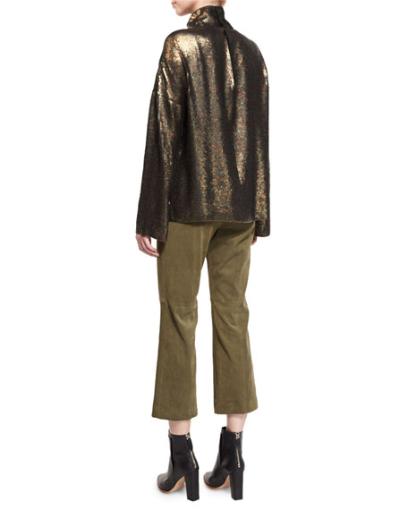 Sequin Funnel-Neck Long-Sleeve Top