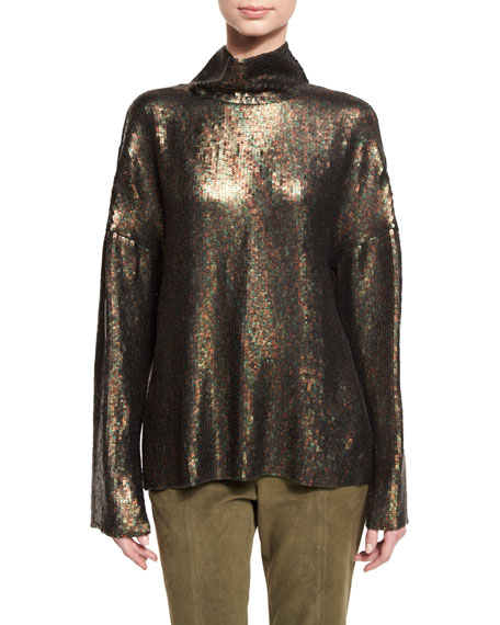 Sequin Funnel-Neck Long-Sleeve Top