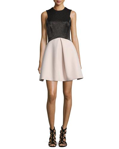 Sleeveless Fit-and-Flare Combo Dress, Black/Buff