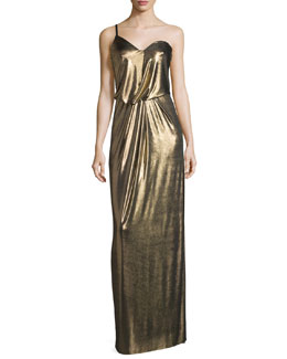 One-Shoulder Metallic Jersey Column Dress, Bronze