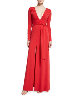 Long-Sleeve Stretch Jersey Tie-Waist Gown, Scarlet