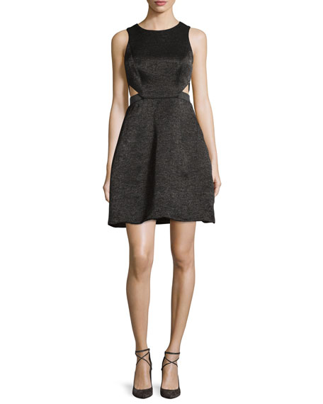 Halston Heritage Sleeveless Cutout Metallic Jacquard Dress, Black