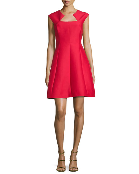Cap-Sleeve Structured Cocktail Dress, Scarlet