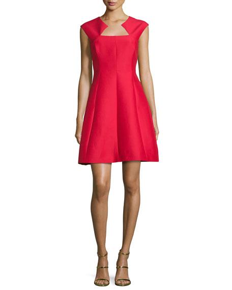 Cap-Sleeve Structured Cocktail Dress, Scarlet