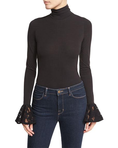 Estrella Long-Sleeve Bodysuit, Black