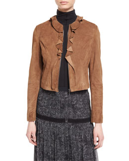Tosca Ruffled Cropped Suede Jacket, Amaretto