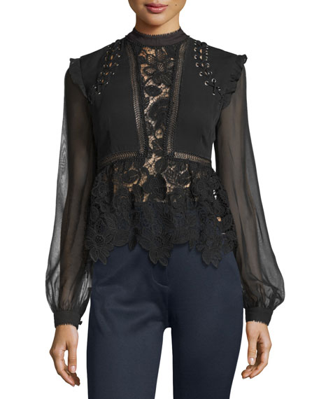 Floral-Lace Long-Sleeve Top, Black
