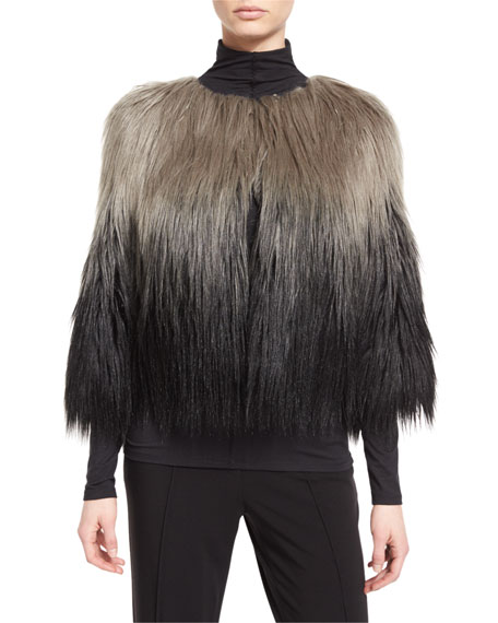 Delma Ombre Faux-Fur Jacket, Gray Ombre