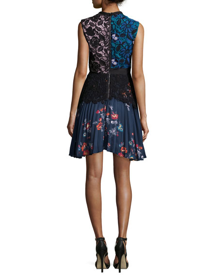 Nina Floral-Lace Pleated Mini Dress
