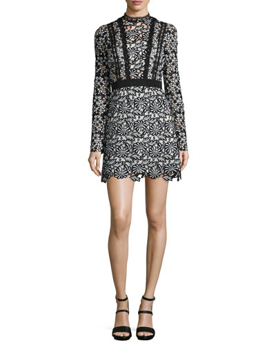 Antoinette Floral-Lace Long-Sleeve Mini Dress