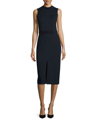 Antlia Fixture Ponte Suede-Trim Sheath Dress