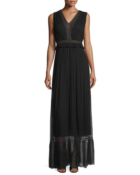 8e591cc4be Elie Tahari Amilia Sleeveless Pleated SIlk Maxi Dress