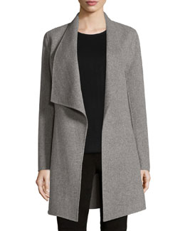 Christina Wool-Blend Open Coat, Gray Melange