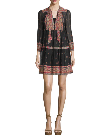 Alpina Paisley-Print Silk Georgette Dress, Caviar