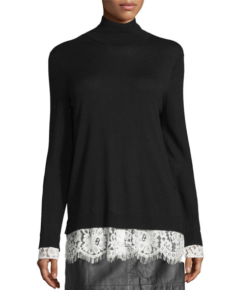 Fredrika Lace-Trim Mock-Neck Sweater