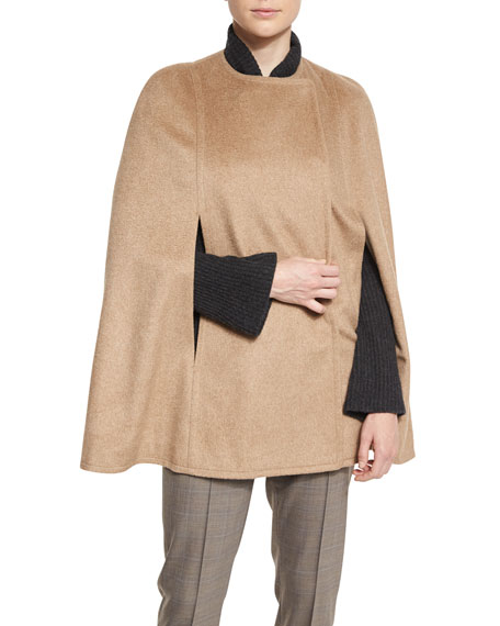 Marta Double-Faced Wool-Blend Cape, Gingersnap