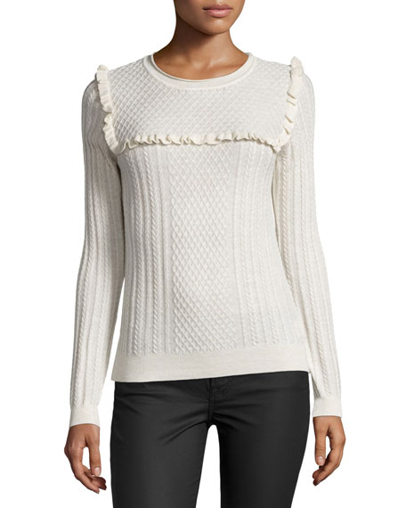 Joie Flor Ruffle-Trim Cable-Knit Sweater