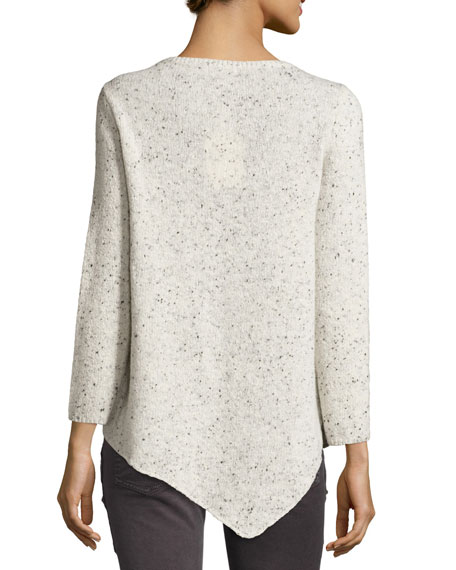 Tambrel Tweedy Asymmetric-Hem Sweater