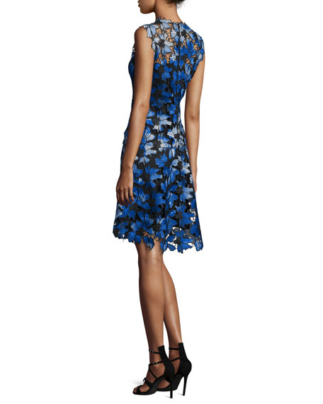Kaisa Sleeveless Jewel-Neck Floral Lace Dress, Waterfall Multi