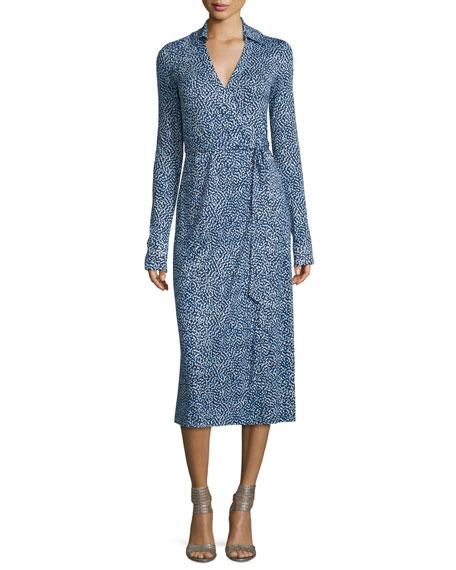 04b57f92b6c01 Diane von Furstenberg Cybil Printed Silk Jersey Wrap Dress