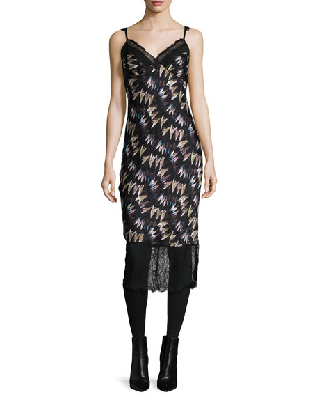 Margarit Printed Slip Dress, Army of Hearts Wild