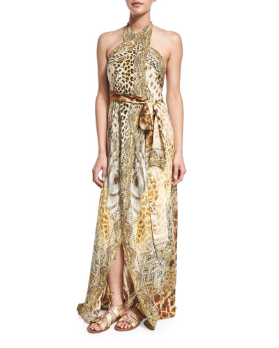 Printed Halter Wrap Dress Coverup, Leopard's Leap
