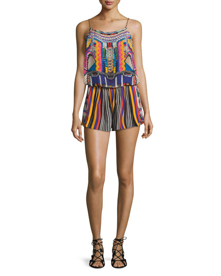 Printed & Embellished Romper Coverup, Woven Wonderland