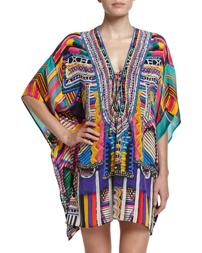 Embellished Lace-Up Silk Caftan Coverup, Woven Wonderland