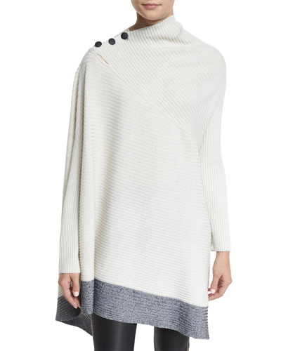 Rayna Ribbed Asymmetric Poncho Top, Ivory