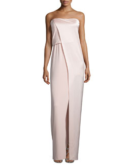 Strapless Draped Satin & Chiffon Gown, Barely Pink