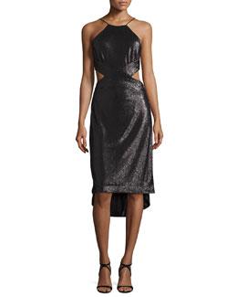 Sleeveless Metallic High-Low Cutout Dress, Black