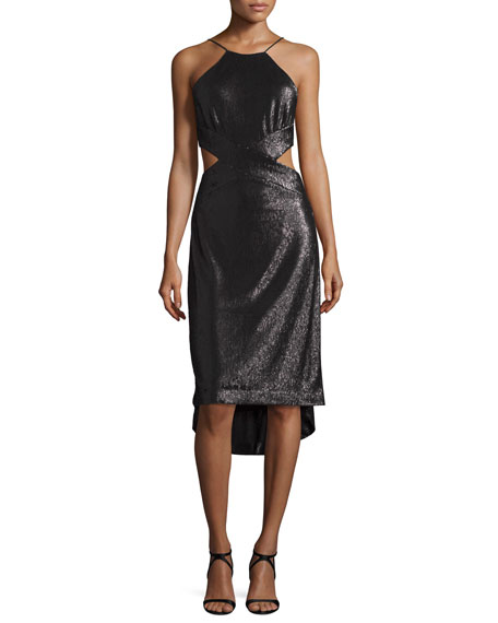Halston Heritage Sleeveless Metallic High-Low Cutout Dress, Black