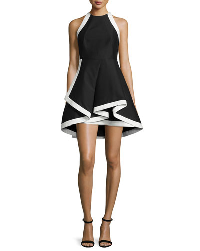 Sleeveless Fit-and-Flare Silk-Blend Mini Dress, Black/White