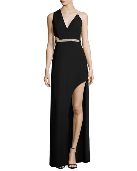 Sleeveless Belted Crepe Gown, Black