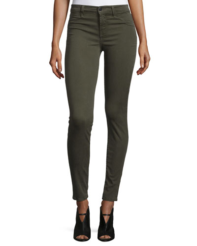 485 Mid-Rise Super-Skinny Sateen Jeans, Green