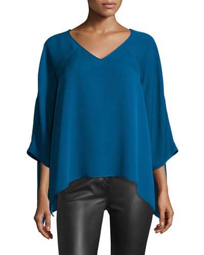 Elsi 3/4-Sleeve V-Neck Silk Top
