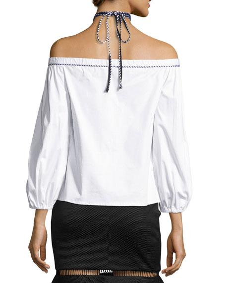 Karen Off-the-Shoulder Halter Top, White