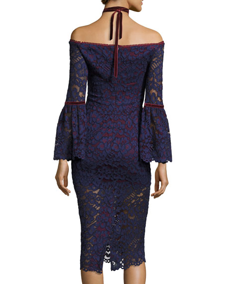 Belin Off-the-Shoulder Lace Dress w/ Velvet Necktie, Navy