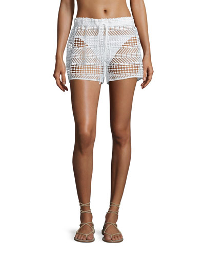 Crocheted Drawstring Coverup Shorts, White