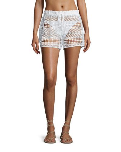 Crocheted Drawstring Coverup Shorts, White