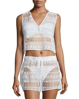 Crocheted V-Neck Coverup Top, White