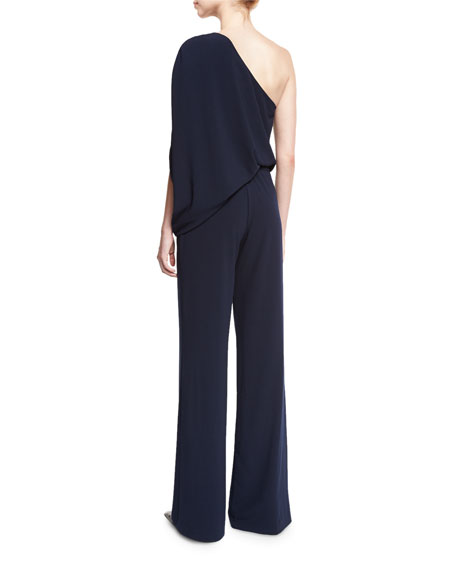 One-Shoulder Draped Stretch Crepe Jumpsuit, Navy