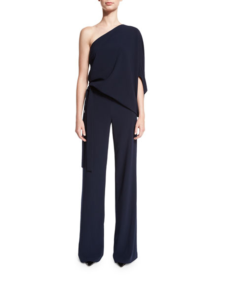 Halston Heritage One-Shoulder Draped Stretch Crepe Jumpsuit, Navy
