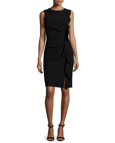 Tamara Sleeveless Ruffle-Trim Sheath Dress, Black