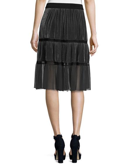 Audra Tiered Velvet Skirt, Gray